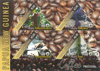 Papouasie Nlle Guinée - Production de café - Bloc-feuillet neuf 4v