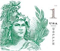 USA - Statue of Freedom $1 - Postfrisk selvkl. frimærke