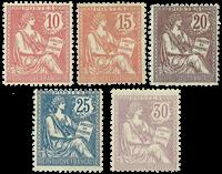 Frankrig 1902 - YT 124/128 - Ubrugt
