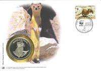 WWF Sobre filat. numismát. - Comadreja alpina