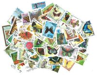 Butterflies - 100 different stamps