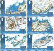 奥尔德尼岛新邮 2017 奥尔德尼岛和巴劳岛地图 套票6枚
