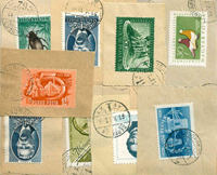 Hungary - Duplicate lot, stamps with paper