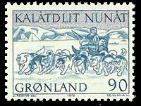 Grønland - 1972. Hundeslæde - 90 øre - Blå
