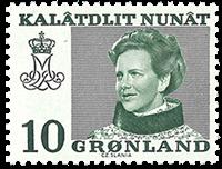 Groenland - Reine Margrethe II - 10 øre - Vert (papier phosphorescent)