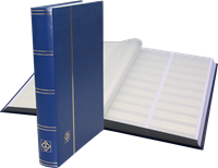 Stockbook - Blue - Size A4 - 64 white pages - divided - non-padded cover