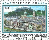 Østrig - Salzburgs gamle bydel - Stemplet frimærke