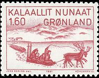Groenland - 1981. Dessin de Jens Kreutzmann - 1,60  kr. - Rouge