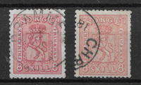 Norge 1867 - AFA 15 + 15a - stemplet