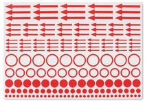 Autocollants de marquage incl. des pois, cercles et flèches, paquet de 10
