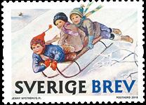 Suède - Le Noël de Jenny Nyström - Timbre neuf de roulette