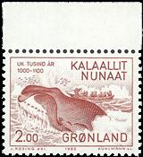 Groenland- 1982. Les 1000 ans de l´histoire du Groenland -2 kr - Rouge-brun