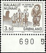 Groenland - 1983. Les 1000 ans de l´histoire du Groenland - 3,50 kr - Brun