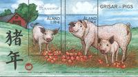 Åland - Année du cochon - Bloc-feuillet neuf