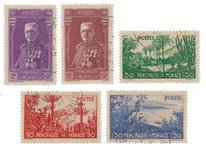 Monaco - 1937 - Yvert 135/139, oblitéré