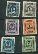 Danmark - AFA 160-166 7 øres provisorier