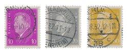 Empire Allemand - 1930 - Michel 435/437, oblitéré