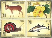 FN Geneve - Truede dyr - Postfrisk sæt 4v