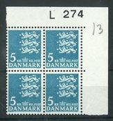 Danmark - 4-blok postfrisk AFA L274