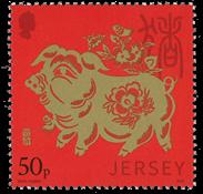 Jersey - L'année du cochon - Timbre neuf