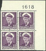 Grønland - AFA 31a fireblok stemplet