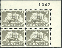 Grønland - AFA 41 marginal fireblok postfrisk
