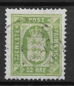 Danmark 1875 - Tj. AFA 7a - stemplet