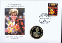 Turks and Caicos - Princess Diana - Nice numiscover with 5 crown coin
