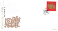 Jersey - L'année du cochon - Env.premier jour avec timbre