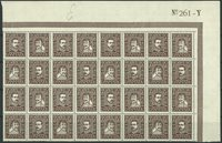 Danemark - AFA 140-143 neuf, partie de feuille 32 timbres