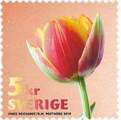 Suède - Tulipe Rouge et Or - Timbre neuf de roulette