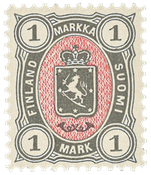 Finland - 1885 - 1 mk grå/rød - LAPE nr. 24