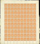 Danmark - Tjeneste foldet postfrisk helark AFA 8