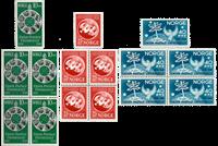 Norge - UPU 1945 fireblok + enkeltmærke