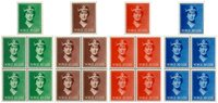 Norge - Dronning Maud fireblok + enkeltmærke
