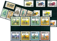 Bicycles - 21 different stamps - Mint