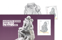 France - Auguste Rodin *The kiss* - Mint souvenir sheet in folder