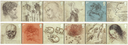Grande-Bretagne - Leonard de Vinci - Feuillet neuf 12v