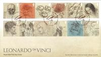 England - Leonardo da Vinci - Førstedagskuvert med sæt