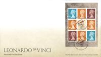 Grande-Bretagne - Leonardo da Vinci - Env.premier jour avec bloc du carnet de prestige