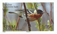 Saint Pierre and Miquelon - Paruline bird - Mint stamp