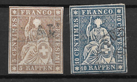 Schweits 1857 - AFA 27+28 - Stemplet