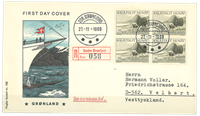 Grønland - FDC med AFA 74 i 4-blok