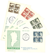 Grønland - FDC med Isbjørn AFA 58-61 1963 i 4-blok