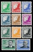 Tyske Rige 1934 - Michel 529-539 - Postfrisk