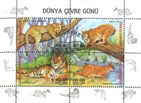 Tyrkiet - Tiger - rovdyr - Stemplet miniark