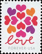Etats-Unis - Love / Coeurs - Timbre neuf