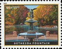Etats-Unis - Fontaine Bethesda à New York, Central  Park - Timbre neuf adh.