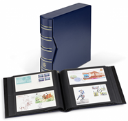 Album for 200 FDCs or letters in DIN long format ,  incl. slipcase, blue
