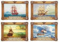 Pitcairn Øerne - Det gode skib Bounty Malerier - Postfrisk sæt 4v